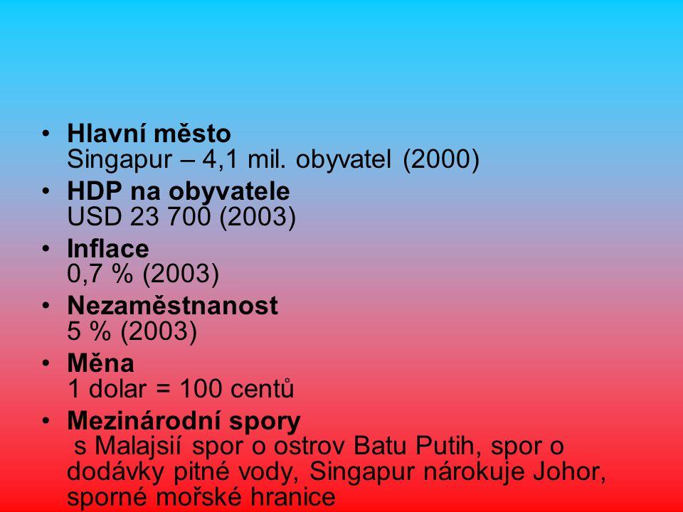 Hlavní město Singapur – 4,1 mil. obyvatel (2000) HDP na obyvatele USD 23 700 (2003) Inflace 0,7 % (2003) Nezaměstnanost 5 % (2003) Měna 1 dolar = 100