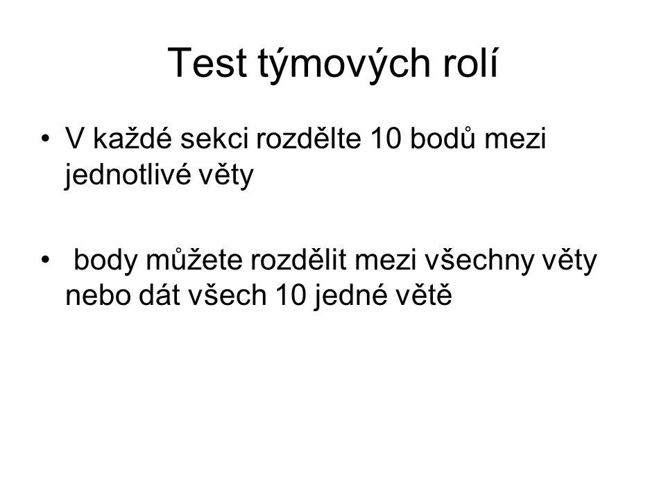 Test týmových rolí V každé sekci rozdělte 10 bodů mezi jednotlivé věty body můžete rozdělit mezi všechny věty nebo dát všech 10 jedné větě