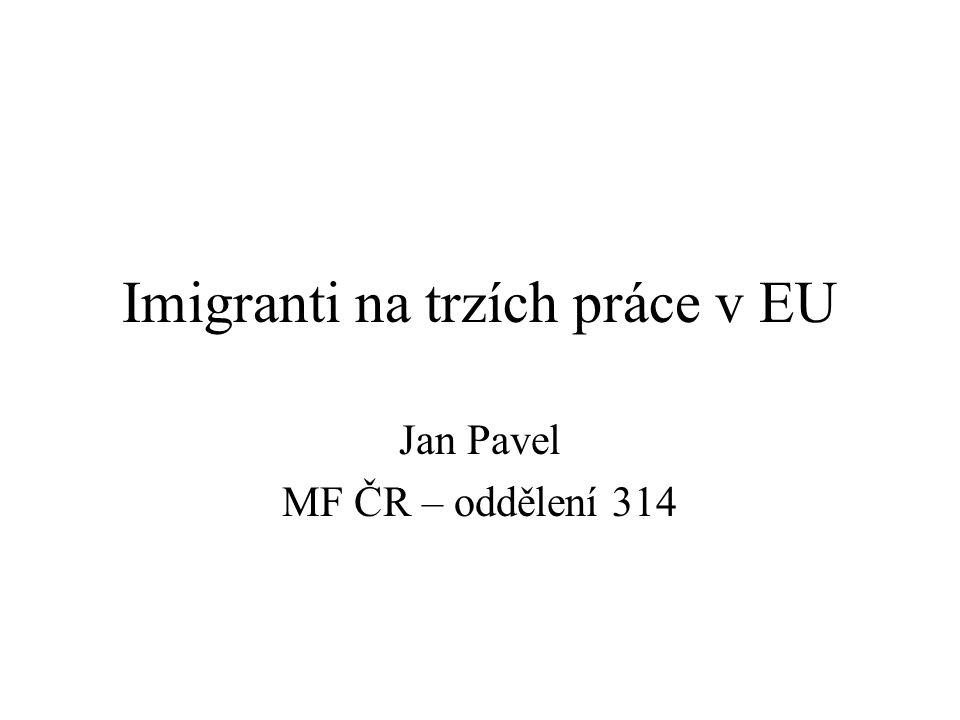 Imigranti na trzích práce v EU Jan Pavel MF ČR – oddělení 314