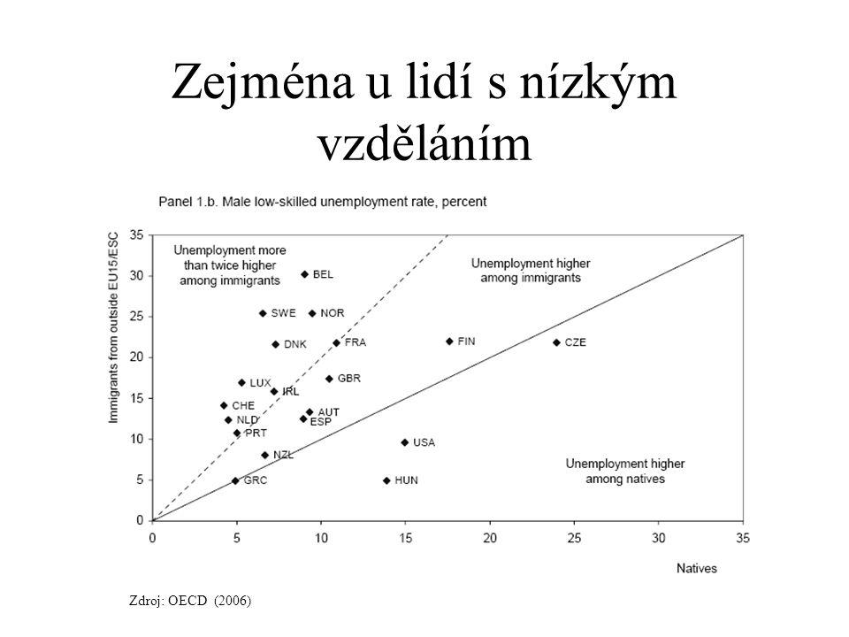 Zejména u lidí s nízkým vzděláním Zdroj: OECD (2006)