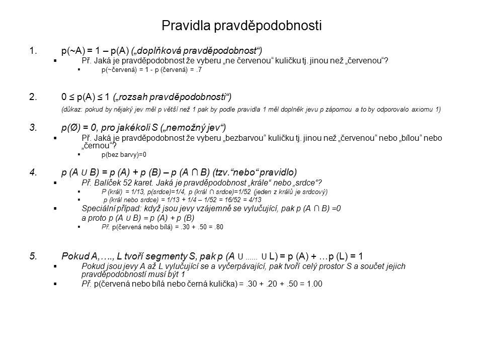 """Pravidla pravděpodobnosti 1.p(~A) = 1 – p(A) (""""doplňková pravděpodobnost )  Př."""