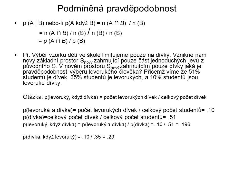  p (A | B) nebo-li p(A když B) = n (A ∩ B) / n (B) = n (A ∩ B) / n (S) / n (B) / n (S) = p (A ∩ B) / p (B)  Př.