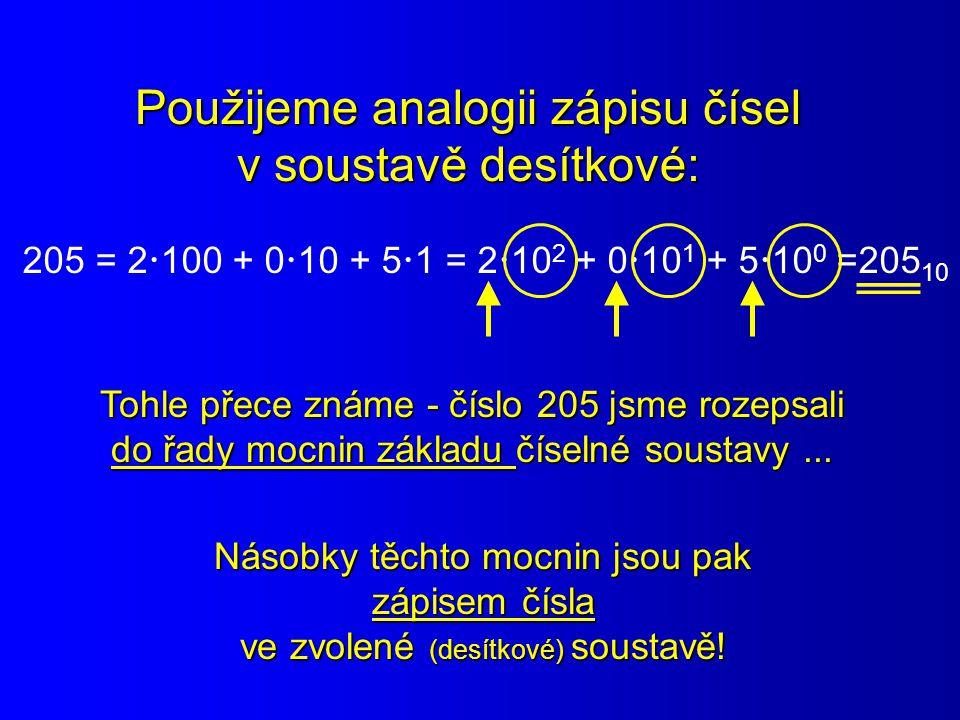 Použijeme analogii zápisu čísel v soustavě desítkové: 205 = 2  100 + 0  10 + 5  1 = 2  10 2 + 0  10 1 + 5  10 0 =205 10 Tohle přece známe - čísl