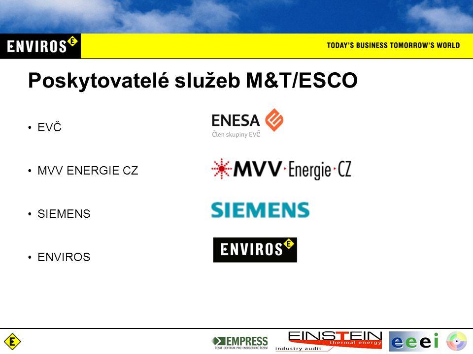 Poskytovatelé služeb M&T/ESCO EVČ MVV ENERGIE CZ SIEMENS ENVIROS