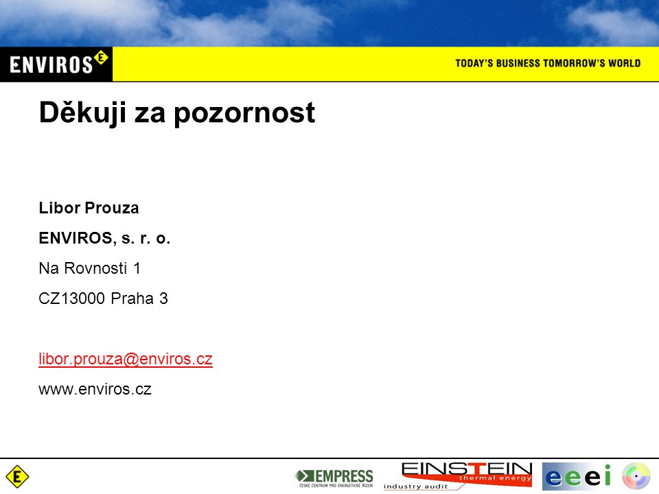Děkuji za pozornost Libor Prouza ENVIROS, s. r. o. Na Rovnosti 1 CZ13000 Praha 3 libor.prouza@enviros.cz@enviros.cz www.enviros.cz