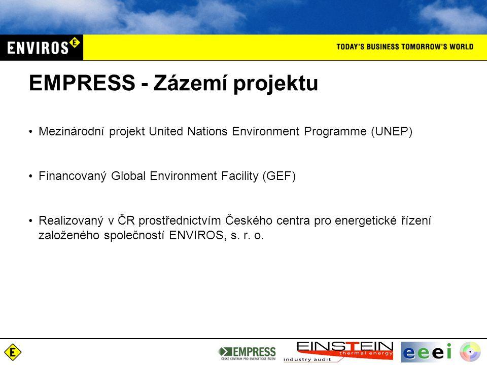 EMPRESS - Zázemí projektu Mezinárodní projekt United Nations Environment Programme (UNEP) Financovaný Global Environment Facility (GEF) Realizovaný v ČR prostřednictvím Českého centra pro energetické řízení založeného společností ENVIROS, s.