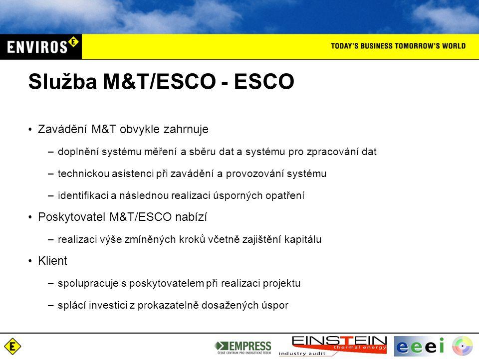 Služba M&T/ESCO - ESCO Zavádění M&T obvykle zahrnuje –doplnění systému měření a sběru dat a systému pro zpracování dat –technickou asistenci při zavádění a provozování systému –identifikaci a následnou realizaci úsporných opatření Poskytovatel M&T/ESCO nabízí –realizaci výše zmíněných kroků včetně zajištění kapitálu Klient –spolupracuje s poskytovatelem při realizaci projektu –splácí investici z prokazatelně dosažených úspor