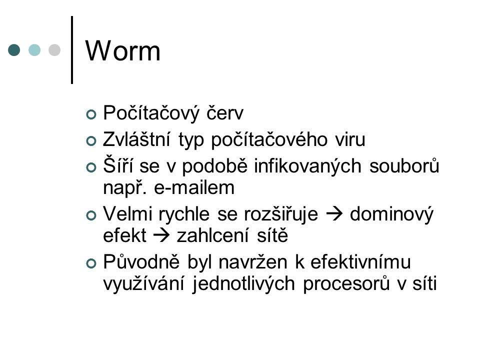 Worm Počítačový červ Zvláštní typ počítačového viru Šíří se v podobě infikovaných souborů např. e-mailem Velmi rychle se rozšiřuje  dominový efekt 