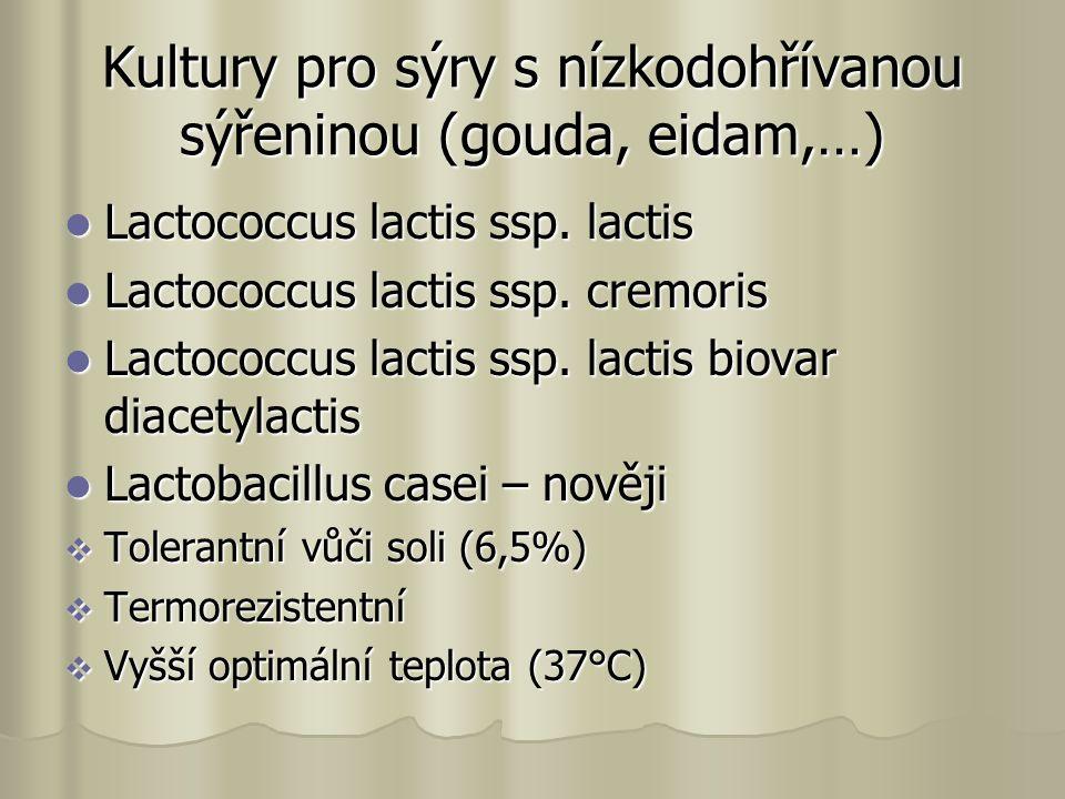 Kultury pro sýry s nízkodohřívanou sýřeninou (gouda, eidam,…) Lactococcus lactis ssp.