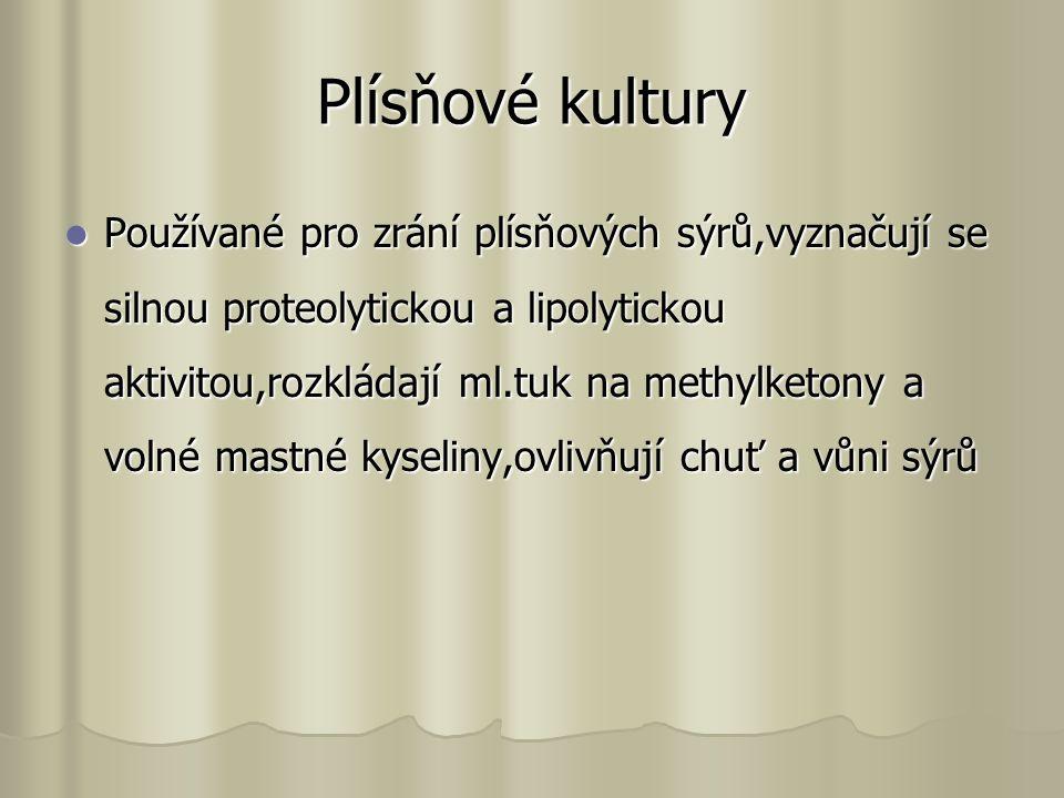 Plísňové kultury Používané pro zrání plísňových sýrů,vyznačují se silnou proteolytickou a lipolytickou aktivitou,rozkládají ml.tuk na methylketony a volné mastné kyseliny,ovlivňují chuť a vůni sýrů Používané pro zrání plísňových sýrů,vyznačují se silnou proteolytickou a lipolytickou aktivitou,rozkládají ml.tuk na methylketony a volné mastné kyseliny,ovlivňují chuť a vůni sýrů