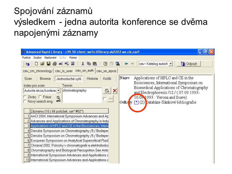 Spojování záznamů výsledkem - jedna autorita konference se dvěma napojenými záznamy