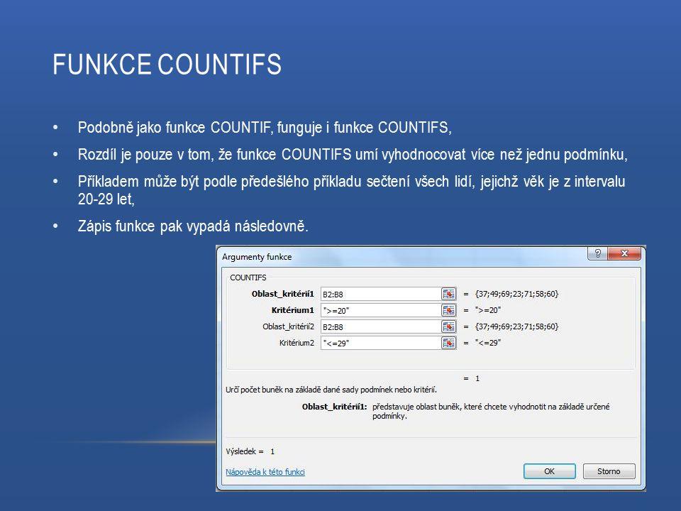 FUNKCE COUNTIFS Podobně jako funkce COUNTIF, funguje i funkce COUNTIFS, Rozdíl je pouze v tom, že funkce COUNTIFS umí vyhodnocovat více než jednu podm