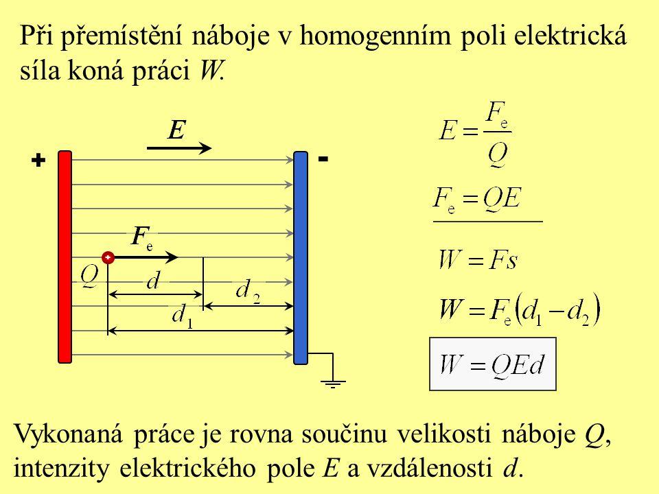 + - Při přemístění náboje v homogenním poli elektrická síla koná práci W.