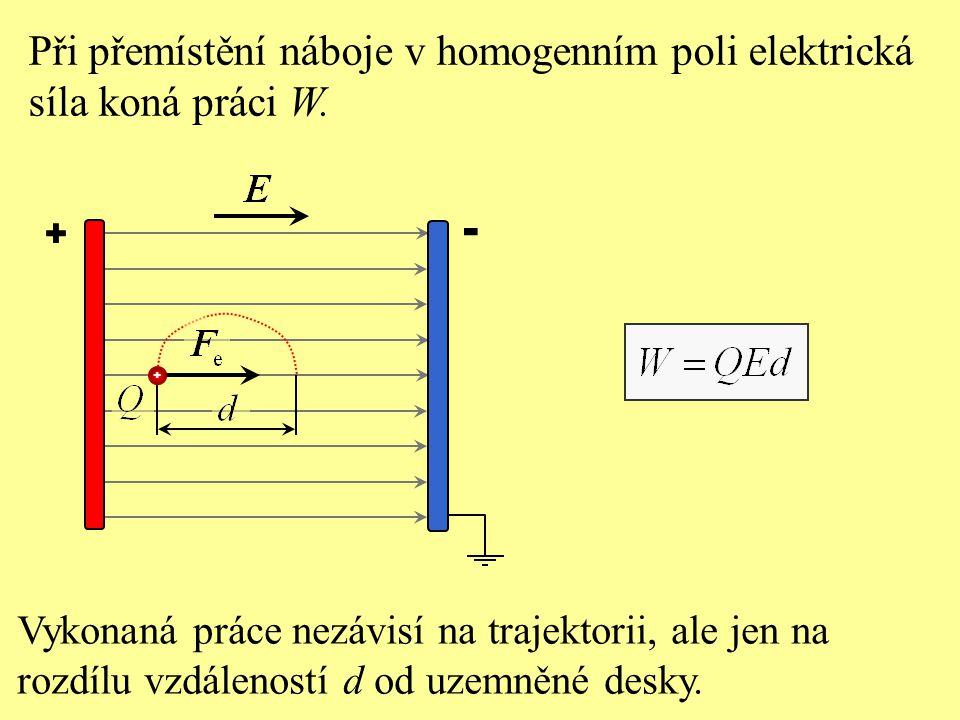 Elektrická potenciální energie E p náboje Q v určitém místě elektrického pole je určena: a) prací, kterou vykoná elektrická síla při přemístění náboje z daného místa na povrch Země, b) prací, kterou vykoná elektrická síla při přemístění náboje z daného místa na zápornou desku, c) elektrickou silou, která na něj působí při přemístění z daného místa na zápornou desku, d) elektrickou silou, která na něj působí při přemístění z daného místa na povrch Země.