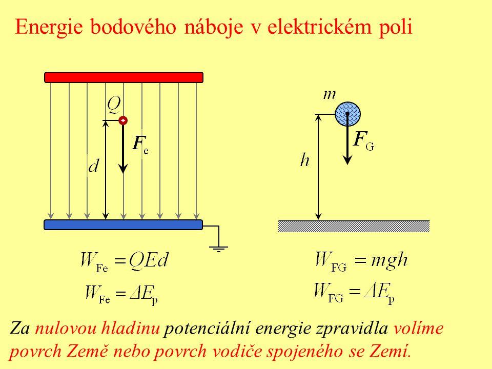 V případě radiálního pole bodového náboje volíme nulovou hladinu potenciální energie v nekonečnu.