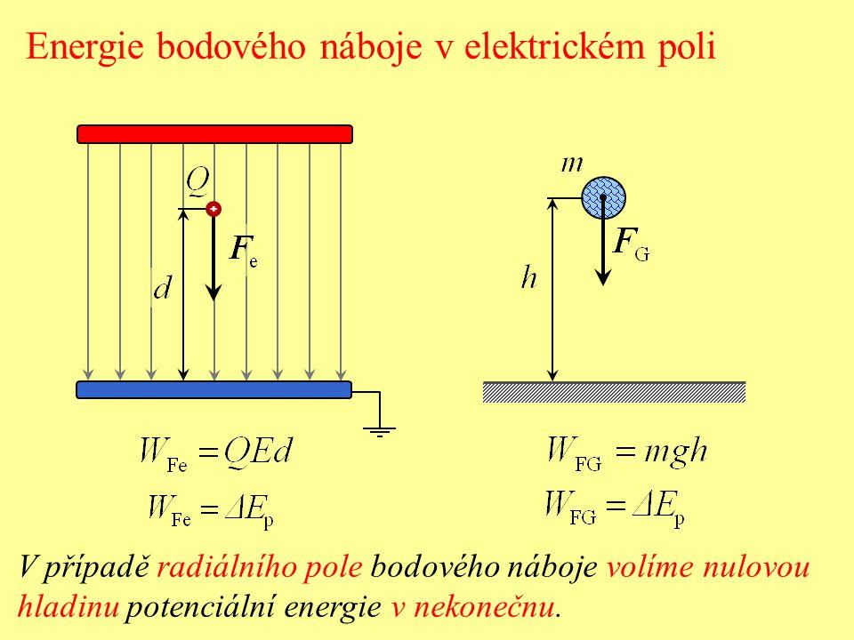 + Elektrická potenciální energie E p náboje Q v určitém místě elektrického pole je určena prací, kterou vykoná elektrická síla při přemístění náboje z daného místa na nulovou hladinu potenciální energie (nezávisle na trajektorii).