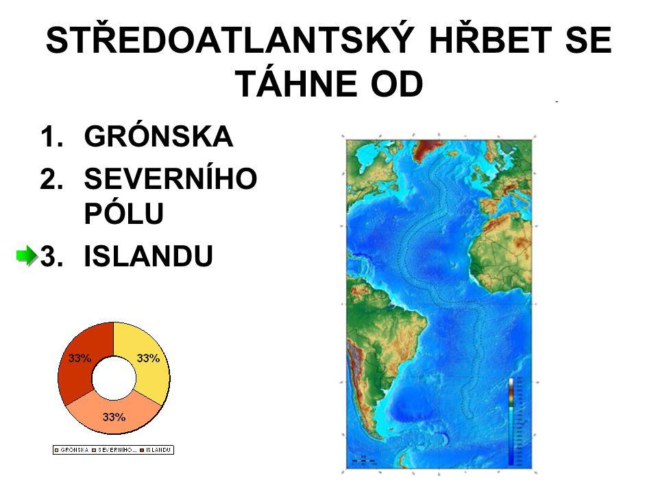 STŘEDOATLANTSKÝ HŘBET SE TÁHNE OD 1.GRÓNSKA 2.SEVERNÍHO PÓLU 3.ISLANDU