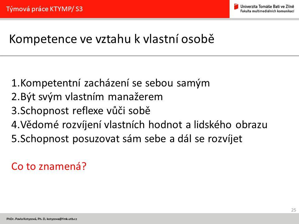 25 PhDr. Pavla Kotyzová, Ph. D, kotyzova@fmk.utb.cz Kompetence ve vztahu k vlastní osobě Týmová práce KTYMP/ S3 1.Kompetentní zacházení se sebou samým