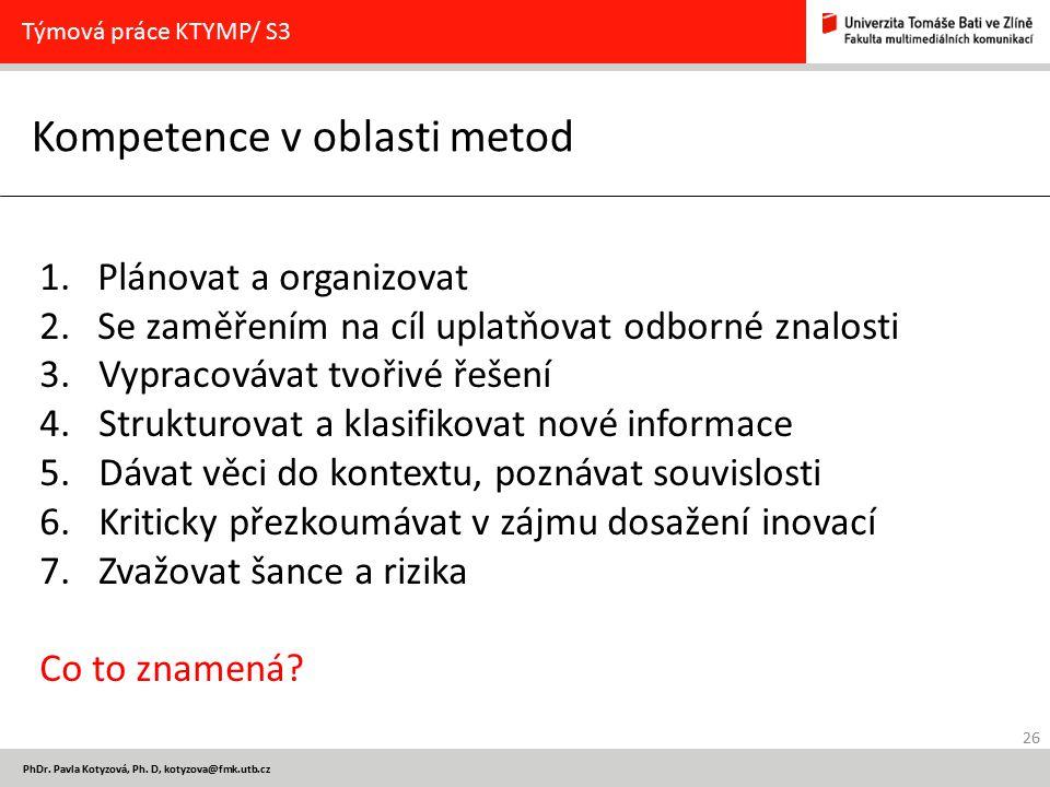 26 PhDr. Pavla Kotyzová, Ph. D, kotyzova@fmk.utb.cz Kompetence v oblasti metod Týmová práce KTYMP/ S3 1. Plánovat a organizovat 2. Se zaměřením na cíl