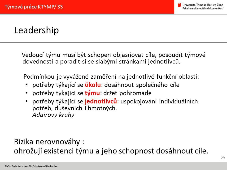 PhDr. Pavla Kotyzová, Ph. D, kotyzova@fmk.utb.cz Leadership Vedoucí týmu musí být schopen objasňovat cíle, posoudit týmové dovednosti a poradit si se