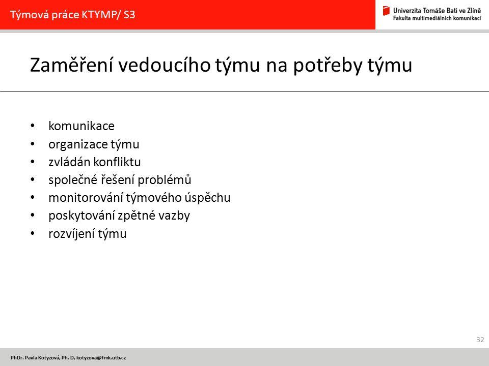 PhDr. Pavla Kotyzová, Ph. D, kotyzova@fmk.utb.cz Zaměření vedoucího týmu na potřeby týmu komunikace organizace týmu zvládán konfliktu společné řešení