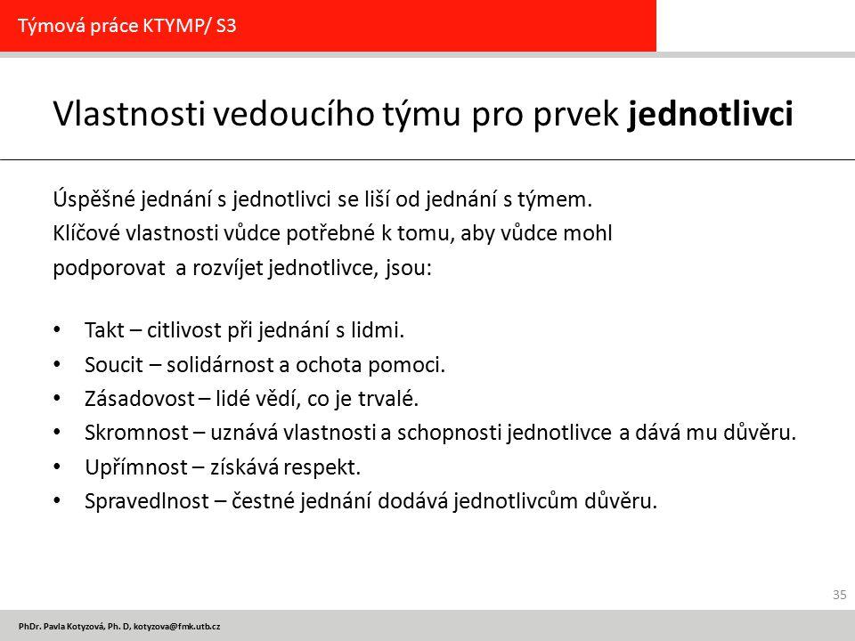 PhDr. Pavla Kotyzová, Ph. D, kotyzova@fmk.utb.cz Vlastnosti vedoucího týmu pro prvek jednotlivci Úspěšné jednání s jednotlivci se liší od jednání s tý