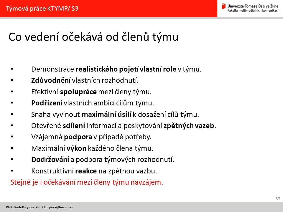 37 PhDr. Pavla Kotyzová, Ph. D, kotyzova@fmk.utb.cz Co vedení očekává od členů týmu Týmová práce KTYMP/ S3 Demonstrace realistického pojetí vlastní ro