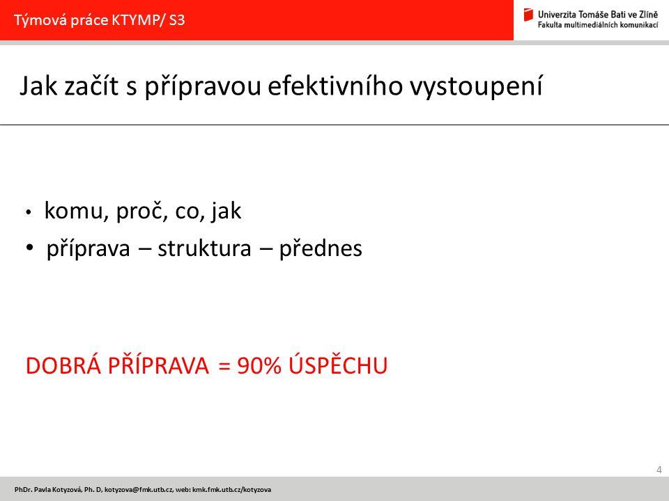 4 PhDr. Pavla Kotyzová, Ph. D, kotyzova@fmk.utb.cz, web: kmk.fmk.utb.cz/kotyzova Jak začít s přípravou efektivního vystoupení Týmová práce KTYMP/ S3 k