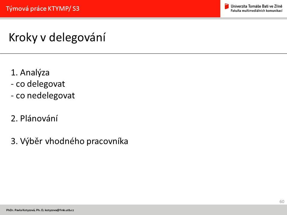 60 PhDr. Pavla Kotyzová, Ph. D, kotyzova@fmk.utb.cz Kroky v delegování Týmová práce KTYMP/ S3 1. Analýza - co delegovat - co nedelegovat 2. Plánování