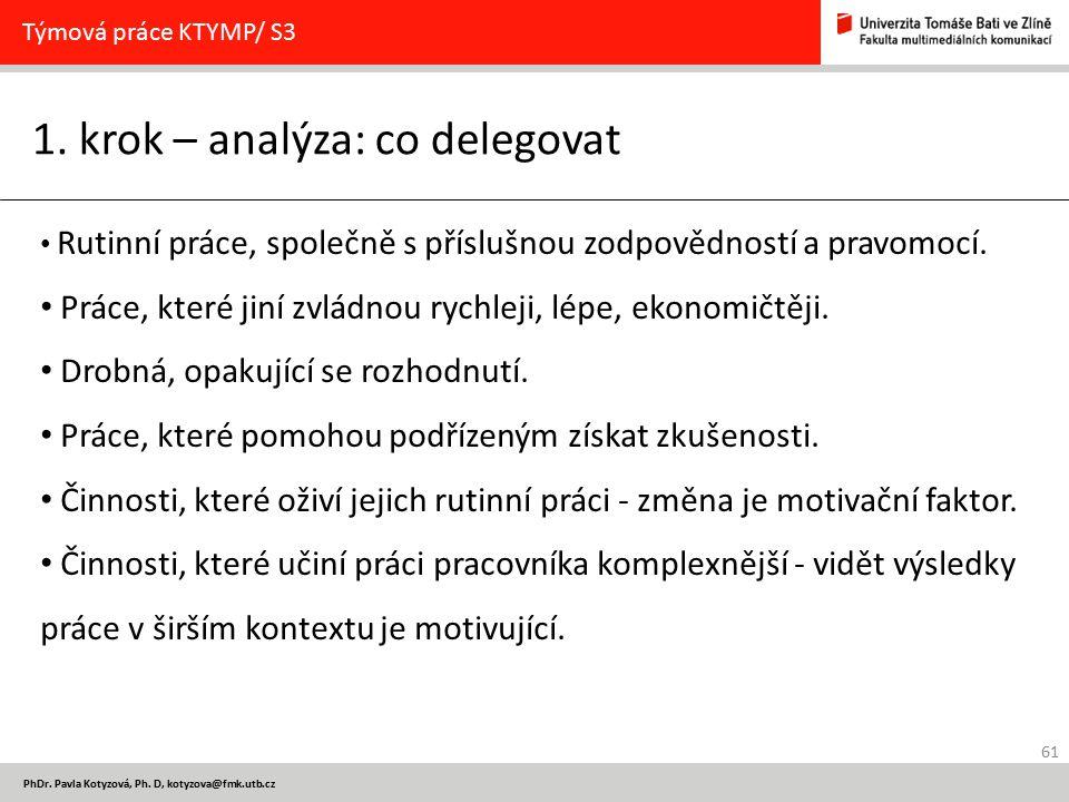 61 PhDr. Pavla Kotyzová, Ph. D, kotyzova@fmk.utb.cz 1. krok – analýza: co delegovat Týmová práce KTYMP/ S3 Rutinní práce, společně s příslušnou zodpov
