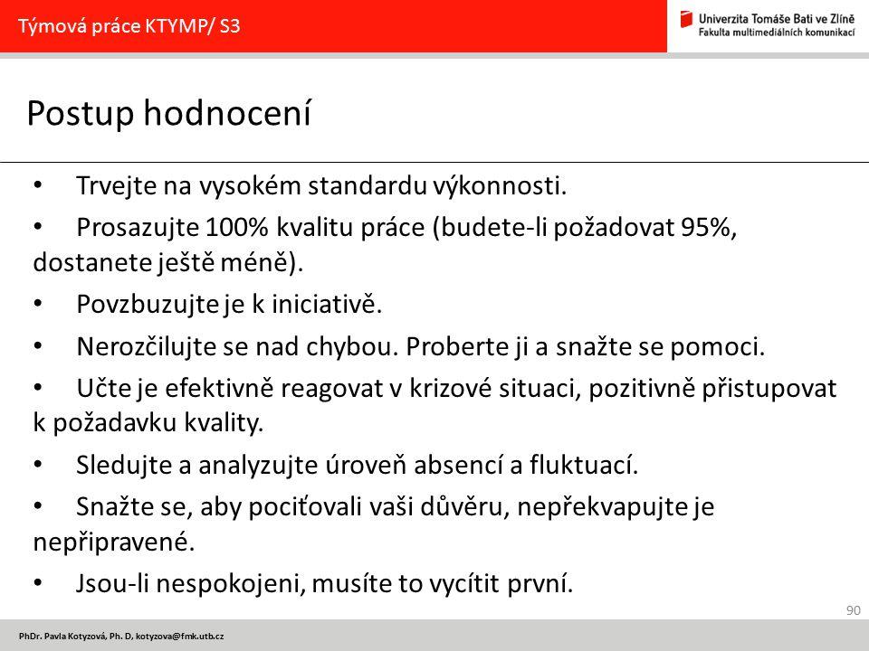 90 PhDr. Pavla Kotyzová, Ph. D, kotyzova@fmk.utb.cz Postup hodnocení Týmová práce KTYMP/ S3 Trvejte na vysokém standardu výkonnosti. Prosazujte 100% k