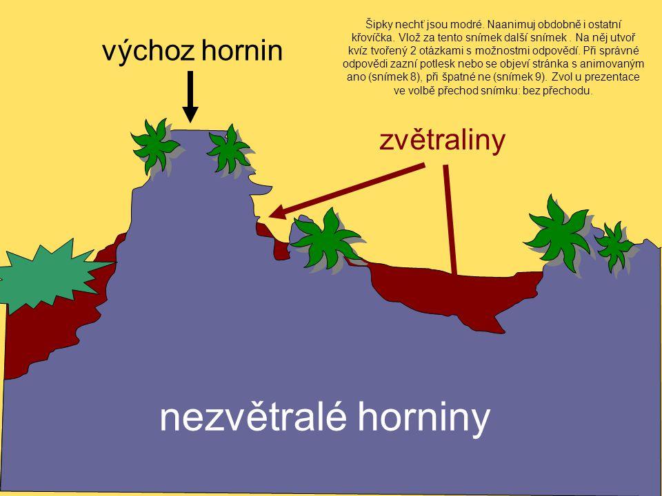 zvětraliny nezvětralé horniny výchoz hornin Šipky nechť jsou modré.