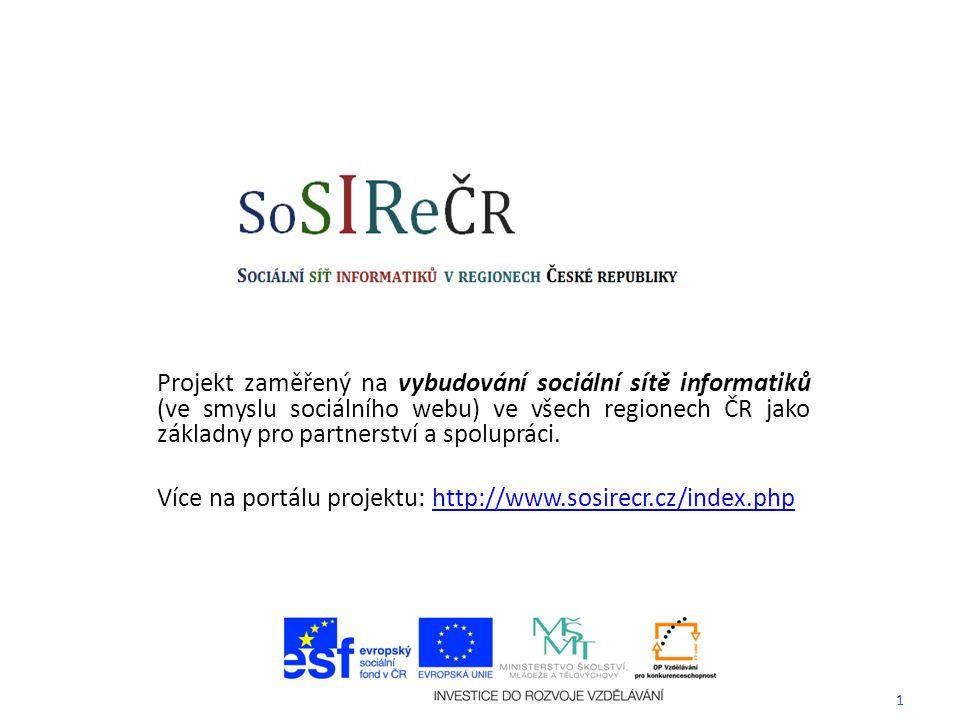 1 Projekt zaměřený na vybudování sociální sítě informatiků (ve smyslu sociálního webu) ve všech regionech ČR jako základny pro partnerství a spolupráci.