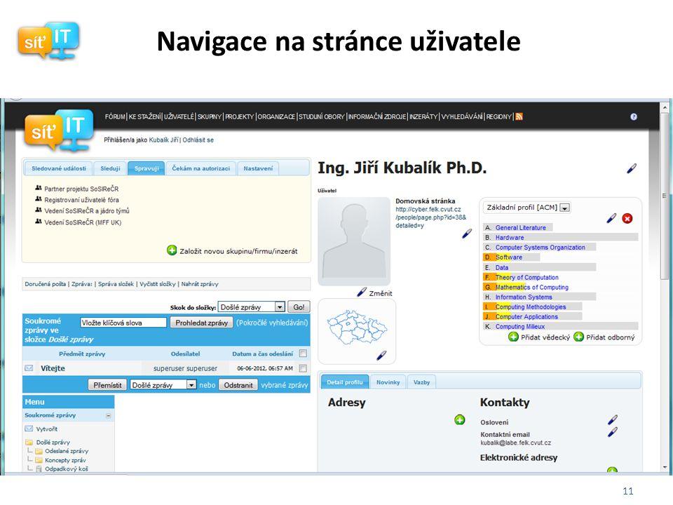 11 Navigace na stránce uživatele