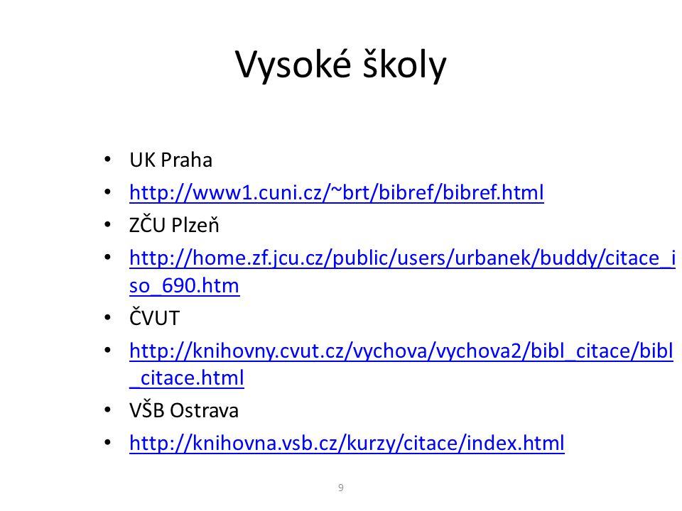 Vysoké školy UK Praha http://www1.cuni.cz/~brt/bibref/bibref.html ZČU Plzeň http://home.zf.jcu.cz/public/users/urbanek/buddy/citace_i so_690.htm http:
