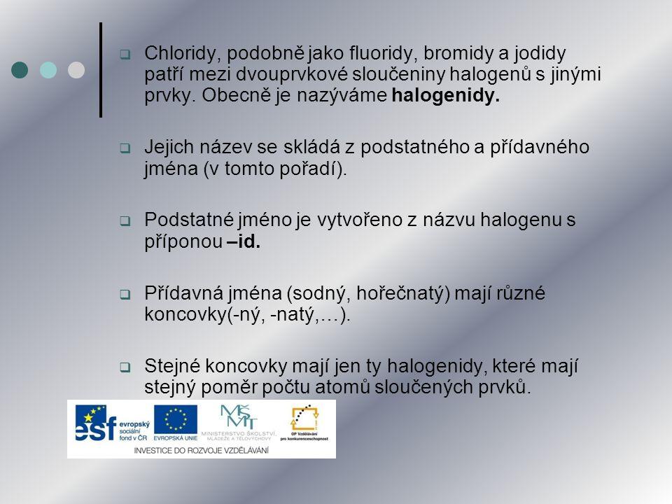  Chloridy, podobně jako fluoridy, bromidy a jodidy patří mezi dvouprvkové sloučeniny halogenů s jinými prvky. Obecně je nazýváme halogenidy.  Jejich