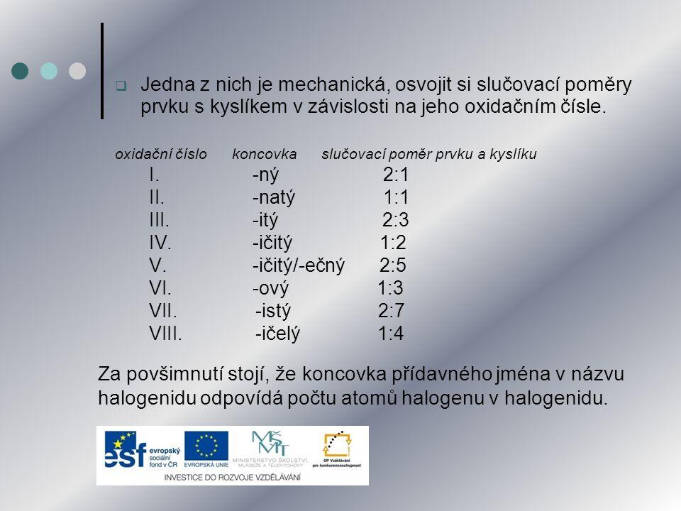  Příklady odvození s použitím pravidel pro oxidační čísla: Chlorid sodný Na I Cl -I vzorec: NaCl Jodid měďnatý Cu II I -I vzorec: CuI 2 Bromid hlinitý Al III Br -I vzorec: AlBr 3 Fluorid křemičitý Si IV F -I vzorec: SiF 4  Ověření platnosti pravidla o součtu oxidačních čísel atomů ve vzorci sloučeniny: o SiF 4 Si IV F -I 1 x (IV) + 4 x (-I) = 4 + (-4) = 0 o CuI 2 Cu II I -I 1 x (II) + 2 x (-I) = 2 + (-2) = 0
