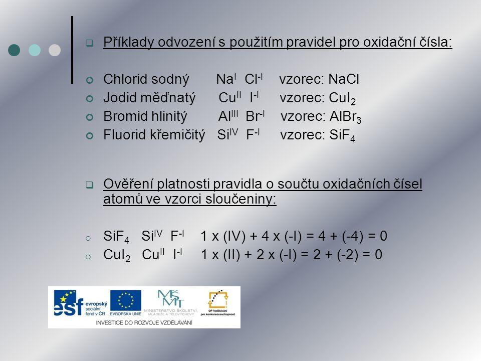  Příklady odvození s použitím pravidel pro oxidační čísla: Chlorid sodný Na I Cl -I vzorec: NaCl Jodid měďnatý Cu II I -I vzorec: CuI 2 Bromid hlinit