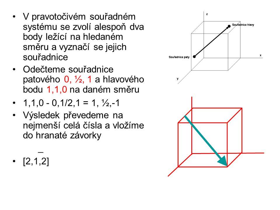 V pravotočivém souřadném systému se zvolí alespoň dva body ležící na hledaném směru a vyznačí se jejich souřadnice Odečteme souřadnice patového 0, ½,