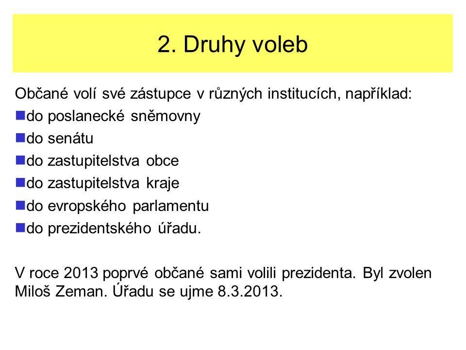 2. Druhy voleb Občané volí své zástupce v různých institucích, například: do poslanecké sněmovny do senátu do zastupitelstva obce do zastupitelstva kr