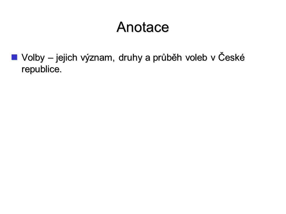 Anotace Volby – jejich význam, druhy a průběh voleb v České republice.