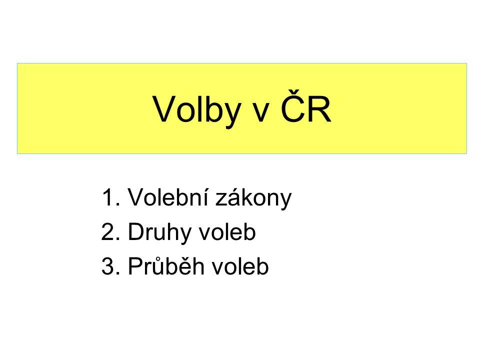 Volby v ČR 1. Volební zákony 2. Druhy voleb 3. Průběh voleb