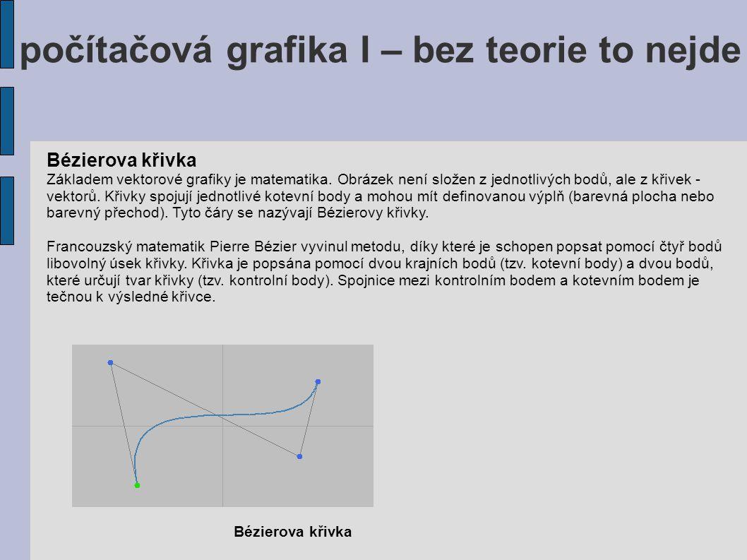 počítačová grafika I – bez teorie to nejde Bézierova křivka Základem vektorové grafiky je matematika. Obrázek není složen z jednotlivých bodů, ale z k
