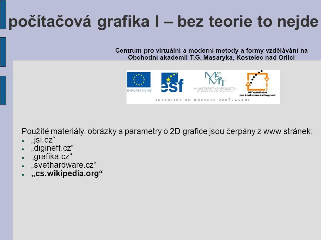 """Použité materiály, obrázky a parametry o 2D grafice jsou čerpány z www stránek: """"jsi.cz"""" """"digineff.cz"""" """"grafika.cz"""" """"svethardware.cz"""" """"cs.wikipedia.or"""