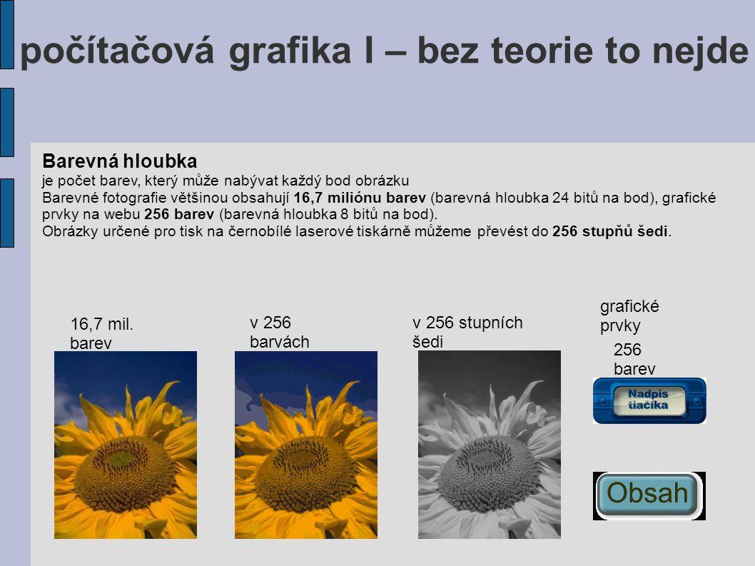 počítačová grafika I – bez teorie to nejde Barevná hloubka je počet barev, který může nabývat každý bod obrázku Barevné fotografie většinou obsahují 1