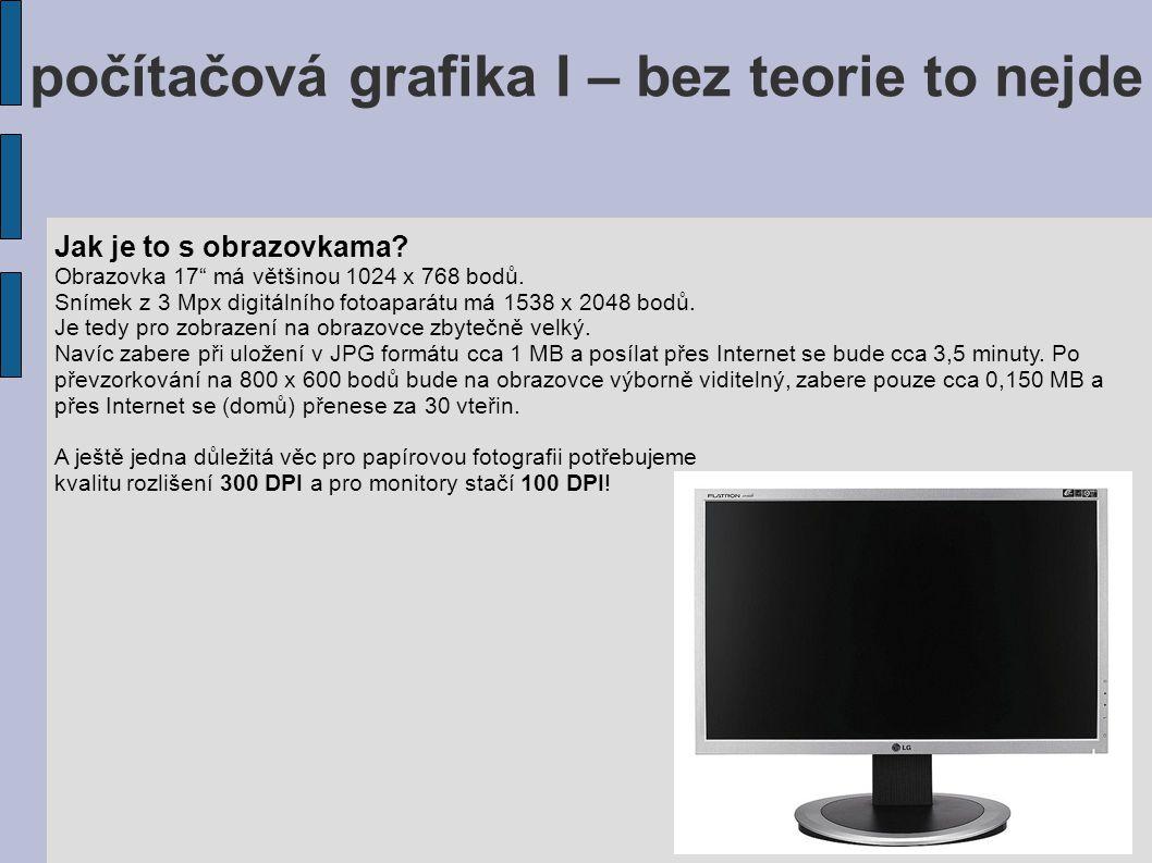 """počítačová grafika I – bez teorie to nejde Jak je to s obrazovkama? Obrazovka 17"""" má většinou 1024 x 768 bodů. Snímek z 3 Mpx digitálního fotoaparátu"""