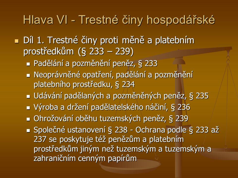 Hlava VI - Trestné činy hospodářské Díl 1.