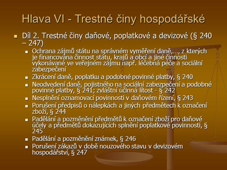 Hlava VI - Trestné činy hospodářské Díl 2.