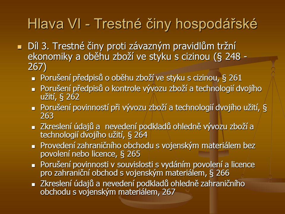 Hlava VI - Trestné činy hospodářské Díl 3.