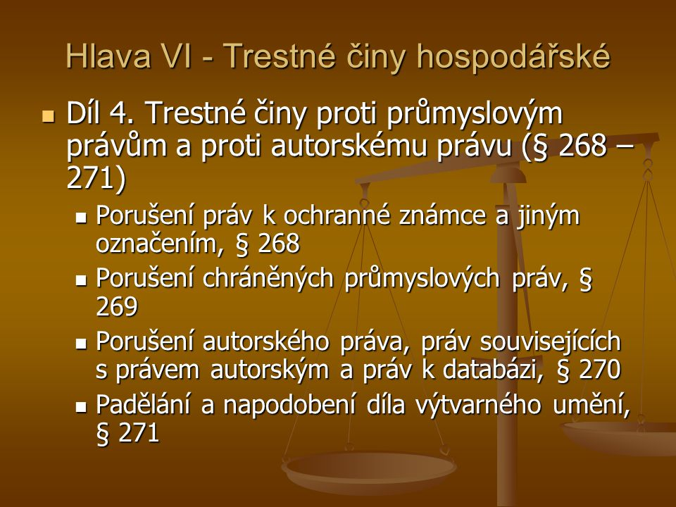 Hlava VI - Trestné činy hospodářské Díl 4.
